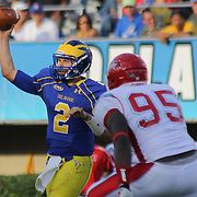 Delaware Quarterback TRENT HURLEY (2) attempts to throw a pass in the pocket during a Week 2 NCAA football game against Delaware State University. <br /> <br /> Delaware defeated Defeated Delaware State 42-21 Saturday. Sept Sept. 07, 2013 in Newark Delaware.