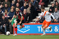Bournemouth's Marc Pugh takes on Blackpool's Andrea Orlandi - Photo mandatory by-line: Robbie Stephenson/JMP - Mobile: 07966 386802 - 14/03/2015 - SPORT - Football - Bournemouth - Dean Court - AFC Bournemouth v Blackpool - Sky Bet Championship