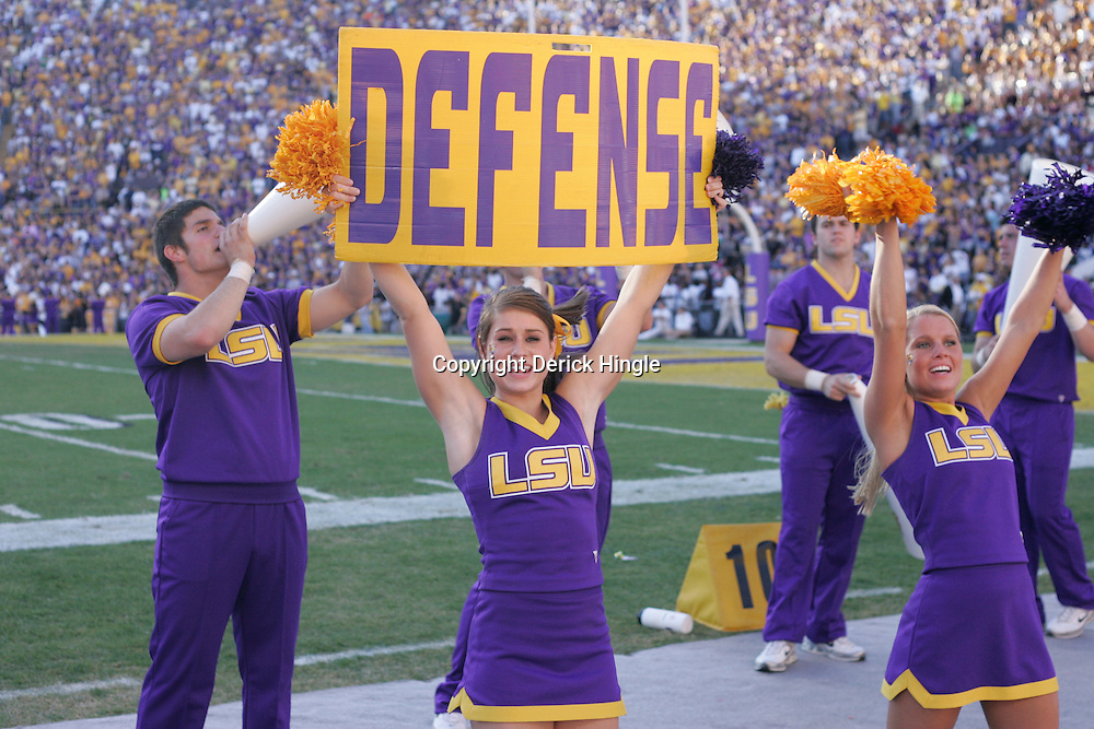 08 November 2008: LSU Cheerleaders perform during Alabama's 27-21 overtime victory over the LSU Tigers at Tiger Stadium in Baton Rouge, LA.