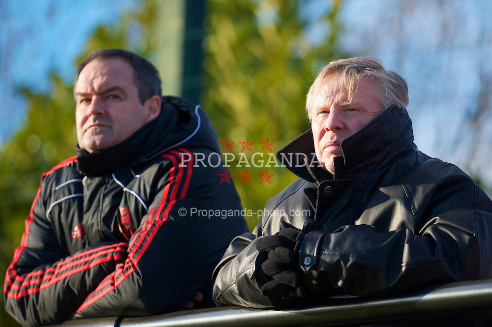 LIVERPOOL, ENGLAND - Tuesday, January 11, 2011: Liverpool's first team coach Sammy Lee (R) and new assistant manager Steve Clarke during the FA Premiership Reserves League (Northern Division) match against Sunderland at the Kirkby Academy. (Pic by: David Rawcliffe/Propaganda)