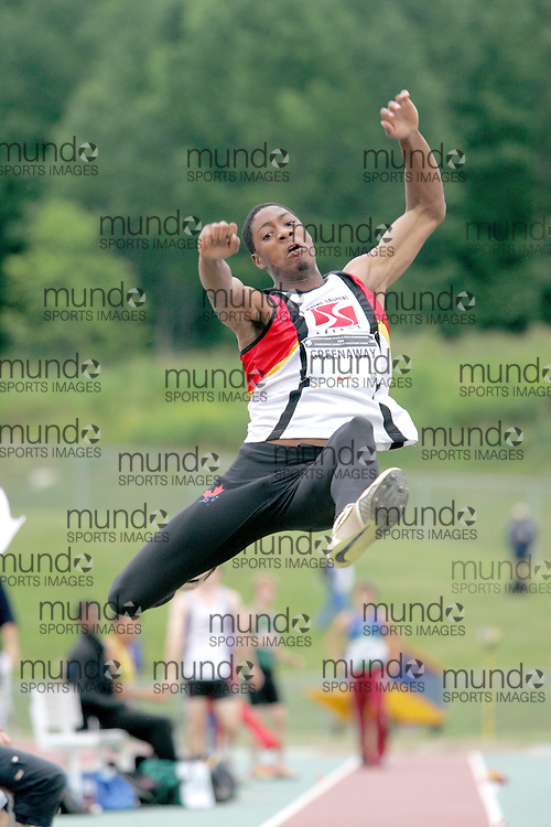 (Sherbrooke, Canada---22 July 2006) Christopher Greenawa competing in the men's long jump final at the 2006 Canadian Junior Track and Field Championships and national multi-events championships 21-23 July 2006 held in Sherbrooke Quebec. Copyright 2006 Sean Burges / Mundo Sport Images, www.mundosportimages.com