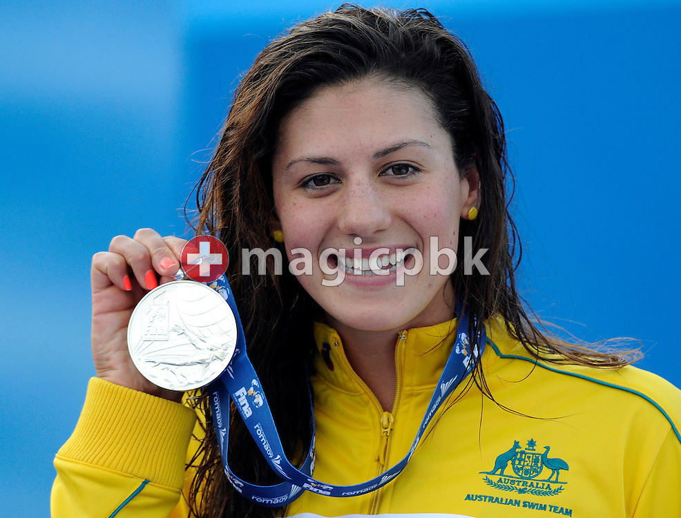 Stephanie RICE of Australia poses with her silver medal during the award ceremony after finishing second in the women's 200m individual medley (IM) final at the 13th FINA World Championships at the Foro Italico complex in Rome, Italy, Monday, July 27, 2009. (Photo by Patrick B. Kraemer / MAGICPBK)