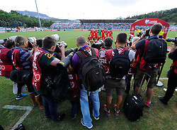 Photographers crowd around to take a picture of England Line up  - Mandatory byline: Joe Meredith/JMP - 07966386802 - 05/09/2015 - FOOTBALL- INTERNATIONAL - San Marino Stadium - Serravalle - San Marino v England - UEFA EURO Qualifers Group Stage