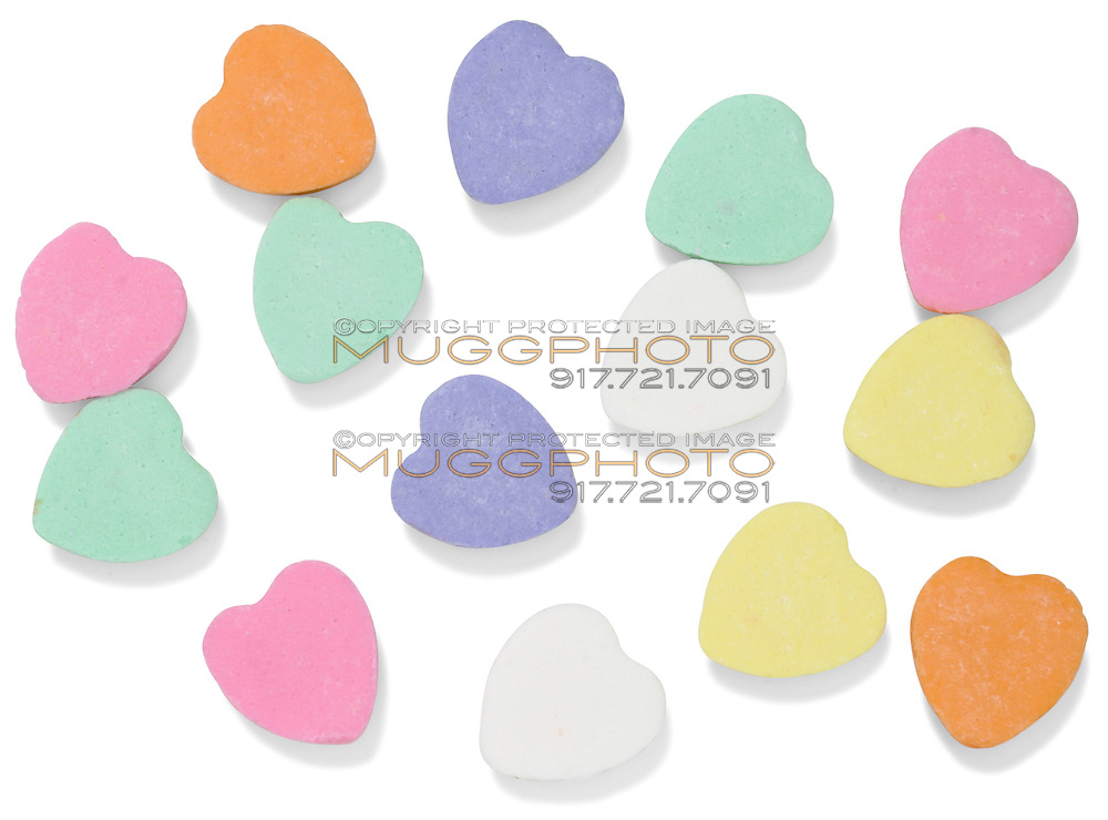 plain necco sweetheart hearts photographed on a white background
