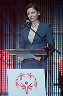 Joanna Mucha - Minister of Sport speaks while Opening ceremony one day before the 2013 Special Olympics European Unified Football Tournament at Torwar Hall in Warsaw, Poland.<br /> <br /> Poland, Warsaw, June 05, 2012<br /> <br /> Picture also available in RAW (NEF) or TIFF format on special request.<br /> <br /> For editorial use only. Any commercial or promotional use requires permission.<br /> <br /> Mandatory credit:<br /> Photo by © Adam Nurkiewicz / Mediasport