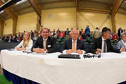 Juryleden Nationale Merriekeuring springmerries<br /> Henk Dirksen, Arie Hamoen, Pieter Kersten, Scarlett Wieberdinck<br /> KWPN Paardendagen 2011 - Ermelo 2011<br /> © Dirk Caremans