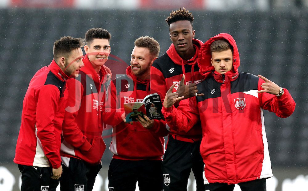 Josh Brownhill, Callum O'Dowda, Matty Taylor, Tammy Abraham and Jamie Paterson of Bristol City arrive at The iPro stadium ahead of the Sky Bet Championship fixture with Derby County - Mandatory by-line: Robbie Stephenson/JMP - 11/02/2017 - FOOTBALL - iPro Stadium - Derby, England - Derby County v Bristol City - Sky Bet Championship