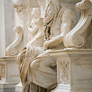 Michelangelo marble statue of Moses at the Basilica Di San Pietro in Vincoli, Basilica of Saint Peter in Chains,  Rome, Italy