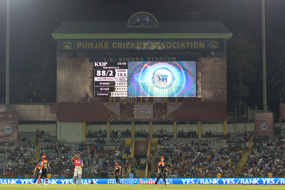 Gv during match 39 of the Vivo Indian Premier League ( IPL ) 2016 between the Kings XI Punjab and the Royal Challengers Bangalore held at the IS Bindra Stadium, Mohali, India on the 9th May 2016<br /> <br /> Photo by Arjun Singh / IPL/ SPORTZPICS