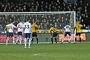 Tottenham Hotspur Harry Kane (10) scores a goal 1-1 second half during the The FA Cup 4th round match between Newport County and Tottenham Hotspur at Rodney Parade, Newport, Wales on 27 January 2018. Photo by Gary Learmonth.