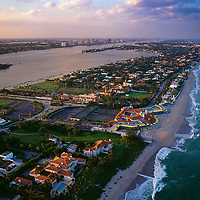 Aerial view of Palm Beach showing Palm Beach tennis Club and mansions along the waterfront.