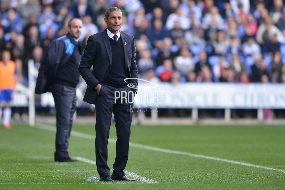 Brighton and Hove Albion manager Chris Hughton and Reading's Manager Steve Clarke during the Sky Bet Championship match between Reading and Brighton and Hove Albion at the Madejski Stadium, Reading, England on 31 October 2015. Photo by Mark Davies.