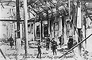 Anti-English Irish uprising, Dublin, May 1916: English troops inside the ruins of the Post Office after its destruction by the rebels. Half-tone. Black-and-white