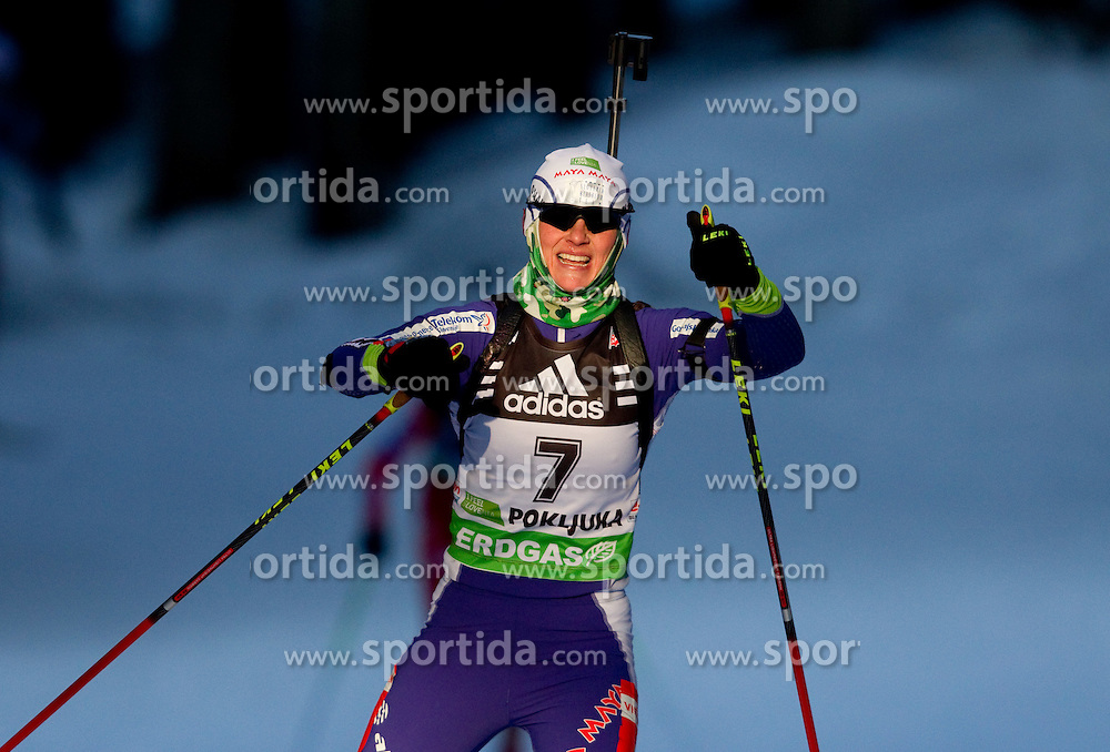 Andreja Mali of Slovenia during the Women 15 km Individual of the e.on IBU Biathlon World Cup on Thursday, December 16, 2010 in Pokljuka, Slovenia. The fourth e.on IBU World Cup stage is taking place in Rudno Polje - Pokljuka, Slovenia until Sunday December 19, 2010.  (Photo By Vid Ponikvar / Sportida.com)