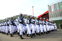 October 3, 2017 - Banten, Banten, India - Indonesian military, conduct the last preparation for commemorating the 72nd National Military Day at the Indah Kiat harbour, Banten Province, on Tuesday, October 3, 2017. In the commemoration of National Military Day this year, which will take place on October 5, Indonesia will feature a number of the latest weaponry equipment, such as AH-64E Apache helicopters, Changbogo class submarine, and Kaplan medium tank prototype from cooperation of Indonesian defense industry, PT. Pindad with Turkish defense industry FNSS. (Credit Image: © Aditya Irawan/NurPhoto via ZUMA Press)