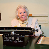 London  27th August  Shorthand Typist  and assistant to Draftsman, Myra Collyer  returns to  Cabinet War Room to mark the 70th Anniversary of  the opening  of the rooms and the start of the second world war ...Standard Licence feee's apply  to all image usage.Marco Secchi - Xianpix tel +44 (0) 7717 298571.http://www.marcosecchi.com