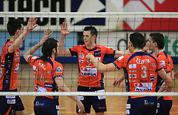 Player of ACH Matija Plesko celebrates at last final volleyball match of 1.DOL Radenska Classic between OK ACH Volley and Salonit Anhovo, on April 21, 2009, in Arena SGS Radovljica, Slovenia. ACH Volley won the match 3:0 and became Slovenian Champion. (Photo by Vid Ponikvar / Sportida)