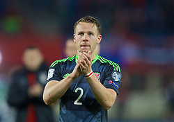 VIENNA, AUSTRIA - Thursday, October 6, 2016: Wales' Chris Gunter applauds the travelling supporter after the 2018 FIFA World Cup Qualifying Group D 2-2 draw with Austria at the Ernst-Happel-Stadion. (Pic by David Rawcliffe/Propaganda)