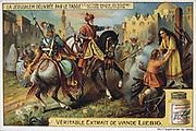 Clorinda. Warrior maiden saving Sophronia and Clorinda from death by burning. Liebig Trade Card c1900. Chromolithograph.