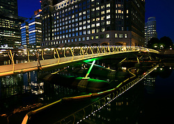 UNITED KINGDOM LONDON 24MAY09 - Bridge spanning West India Quay and Canary Wharf area of the London Docklands during the early morning hours...jre/Photo by Jiri Rezac..© Jiri Rezac 2009