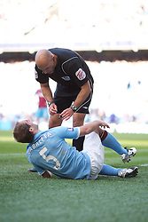 MANCHESTER, ENGLAND - Sunday, May 1, 2011: Manchester City's Pablo Zabaleta and referee Howard Webb during the Premiership match against West Ham United at the City of Manchester Stadium. (Photo by David Tickle/Propaganda)
