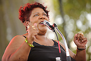 Kim Massie performing at LouFest in St. Louis on August 29, 2010.
