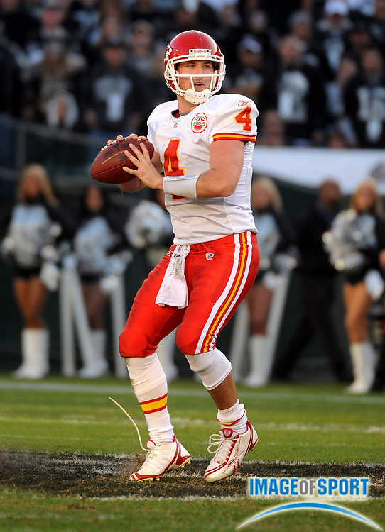 Nov 30, 2008; Oakland, CA, USA; Kansas City Chiefs quarterback Tyler Thigpen (4) throws a pass in the third quarter against the Oakland Raiders at the Oakland-Alameda County Coliseum. The Chiefs defeated the Raiders 20-13.
