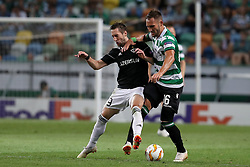 September 20, 2018 - Lisbon, Portugal - Sporting's midfielder Nemanja Gudelj from Serbia (R ) vies with Qarabag's midfielder Filip Ozobic during the UEFA Europa League Group E football match Sporting CP vs Qarabag at Alvalade stadium in Lisbon, on September 20, 2018. (Credit Image: © Pedro Fiuza/NurPhoto/ZUMA Press)