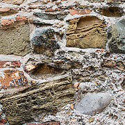 Detail of the stone building materials used in constructing 17th century Spanish colonial buildings in Casco Viejo, Panama City, Panama.