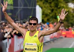 Second placed Iaroslav Musinschi of Moldavia at the finish line of the 14th Marathon of Ljubljana, on October 25, 2009, in Ljubljana, Slovenia.  (Photo by Vid Ponikvar / Sportida)