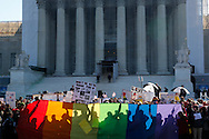 Supporters of same-sex marriage rally at the U.S. Supreme Court in Washington.