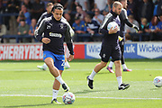 AFC Wimbledon attacker Egli Kaja (21) warming up during the EFL Sky Bet League 1 match between AFC Wimbledon and Shrewsbury Town at the Cherry Red Records Stadium, Kingston, England on 12 August 2017. Photo by Matthew Redman.