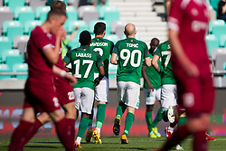 Players of NK Olimpija Ljubljana celebrate goal during football match between NK Olimpija Ljubljana and NK Triglav Kranj in Round #31 of Prva liga Telekom Slovenije 2017/18, on May 6, 2018 in SRC Stozice, Ljubljana, Slovenia. Photo by Urban Urbanc / Sportida