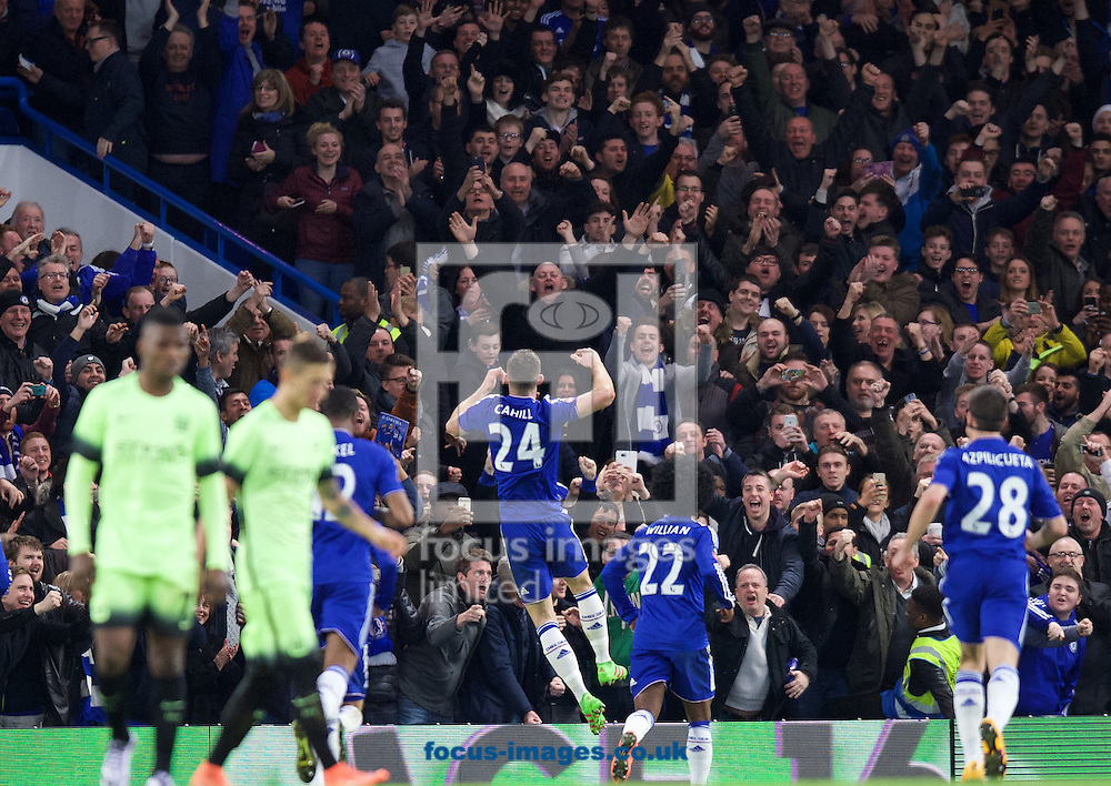 Gary Cahill (24) of Chelsea celebrates after scoring their third goal to make it 3-1 during the FA Cup match at Stamford Bridge, London<br /> Picture by Alan Stanford/Focus Images Ltd +44 7915 056117<br /> 21/02/2016