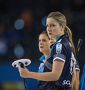 "Glasgow. SCOTLAND.  Lauren GRAY,  during  the ""Round Robin"" Game.  Scotland vs Russia,  Le Gruyère European Curling Championships. 2016 Venue, Braehead  Scotland<br /> Thursday  24/11/2016<br /> <br /> [Mandatory Credit; Peter Spurrier/Intersport-images]"