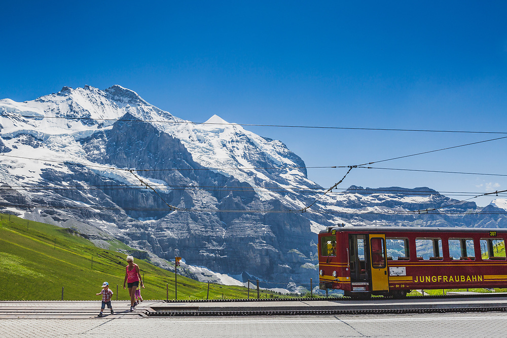 Looking across to the Jungfrau (4,158 m / 13,642 ft) from the railway station at Kleine Sheidegg (2,061m / 6,762ft). An ideal stepping off point for summer walks, hikes, climbing and plenty of winter sport.