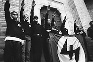 Birthplace of Benito Mussolini. Manifestation of the anniversary of the march on Rome. Gathering of fascist sympathizers in front of the burial crypt where Mussolini.