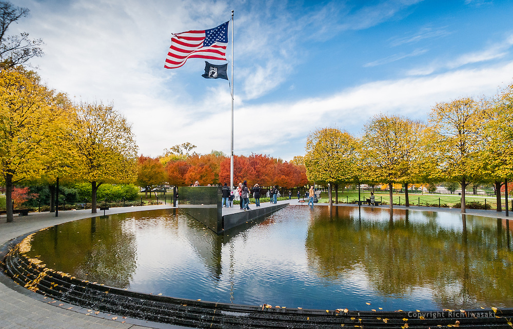 The American flag flies above the Pool of Remembrance at the Korean War Veterans Memorial, Washington, DC
