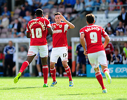 Bristol City's Jay Emmanuel-Thomas celebrates his goal with Gregg Cunningham  - Photo mandatory by-line: Dougie Allward/JMP - Tel: Mobile: 07966 386802 11/08/2013 - SPORT - FOOTBALL - Sixfields Stadium - Sixfields Stadium -  Coventry V Bristol City - Sky Bet League One