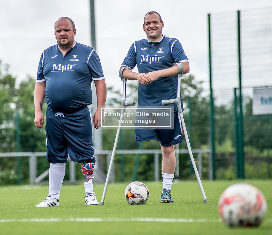Andy Bell and Gerry Mulheron of the Scotland squad of the Amputee Football Association Scotland get some last minute training in before travelling to the Netherlands for their first tri-nations championship with the host country and Germany.<br /> <br /> © Dave Johnston/ EEm