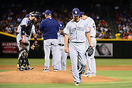 PHOENIX, AZ - JULY 06:  Colin Rea #29 of the San Diego Padres is taken out of the game against the Arizona Diamondbacks during the fifth inning at Chase Field on July 6, 2016 in Phoenix, Arizona.  (Photo by Jennifer Stewart/Getty Images)
