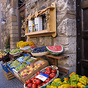 Fresh produce and fruit outside shop on Corso Cavour in Orvieto, Italy