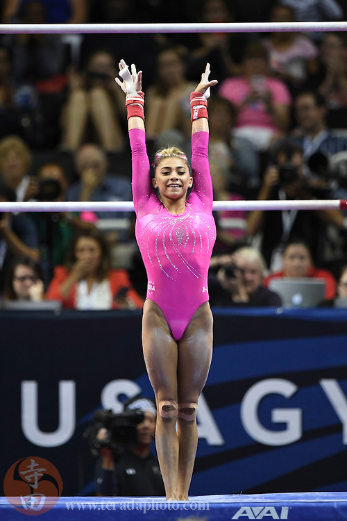 July 8, 2016; San Jose, CA, USA; Ashton Locklear, from Hamlet, NC, during the uneven bars in the women's gymnastics U.S. Olympic team trials at SAP Center.
