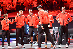 September 21, 2018 - Chicago, Illinois, United States - The World Team in the opening ceremony of the 2018 Laver Cup tennis event in Chicago. (Credit Image: © Christopher Levy/ZUMA Wire)