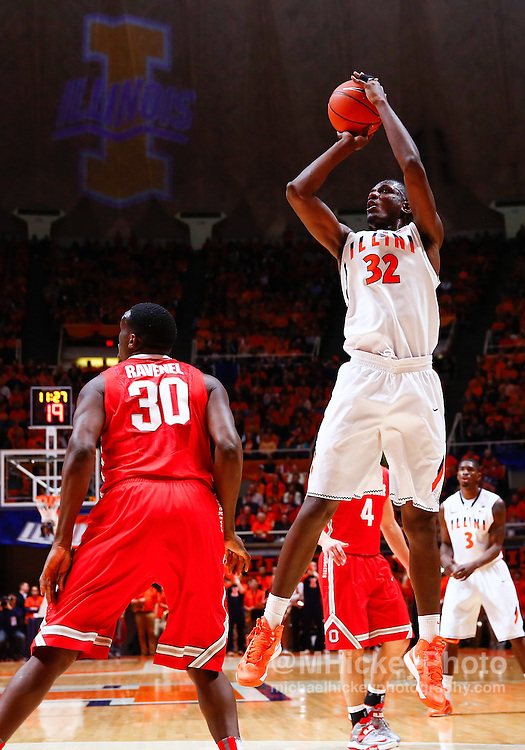 CHAMPAIGN, IL - JANUARY 05: Nnanna Egwu #32 of the Illinois Fighting Illini is seen during the game against the Ohio State Buckeyes at Assembly Hall on January 5, 2013 in Champaign, Illinois. Ilinois defeated Ohio State 74-55. (Photo by Michael Hickey/Getty Images) *** Local Caption *** Nnanna Egwu