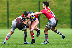Ethan Smith of Bristol Academy U18 is tackled by Jack Potter of Harlequins Academy U18 - Mandatory by-line: Craig Thomas/JMP - 03/02/2018 - RUGBY - SGS Wise Campus - Bristol, England - Bristol U18 v Harlequins U18 - Premiership U18 League