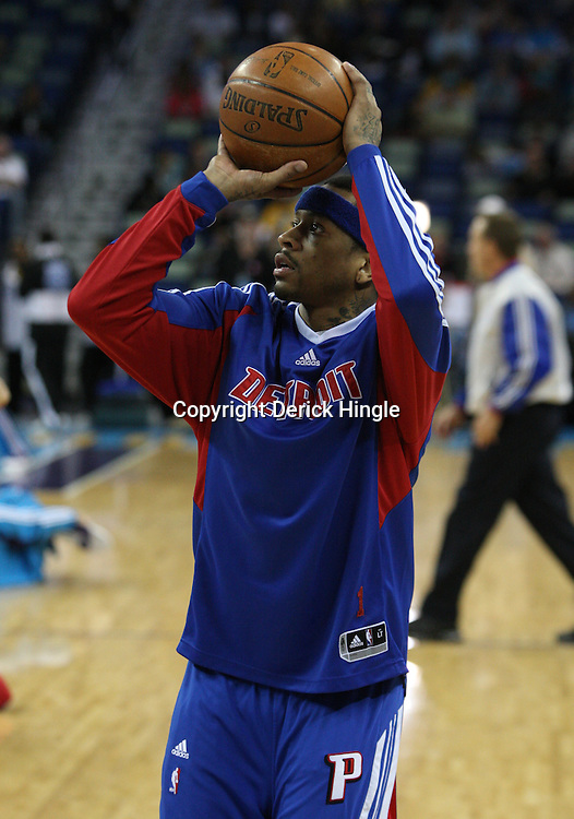 25 February 2009: Detroit Pistons guard Allen Iverson shoots during the shoot around prior to tip off of a NBA basketball game between the Detroit Pistons  and the New Orleans Hornets at the New Orleans Arena in New Orleans, Louisiana.
