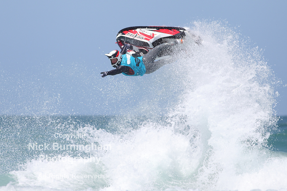 Fistral Beach, Newquay, Cornwall, UK. 7th June, 2015. Professional jestski riders compete at the IFWA World Tour Jet Ski Championship at Newquay's Fistral Bay. The final day of the Rippin H2O event saw impressive tricks from freeriders. The three day event attracted riders from all around the globe.
