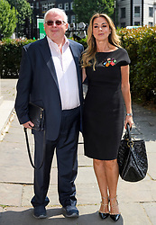 © Licensed to London News Pictures. 22/05/2018. London, UK. CHRISTOPHER BIGGINS and CLAIRE SWEENEY attend the funeral of television presenter Dale Winton at Commonwealth Church in Marylebone, London. Dale Winton, who was found dead at his home on April 18, was famous for presenting Supermarket Sweep and National Lottery game show. Photo credit: Ben Cawthra/LNP
