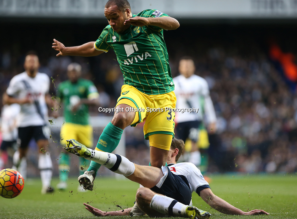 26 December 2015 - Premier League - Tottenham Hotspur v Norwich City<br /> Jan Vertongen of Spurs slide tackles Vadis Odjidja-Ofoe of Norwich<br /> Photo: Charlotte Wilson / Offside
